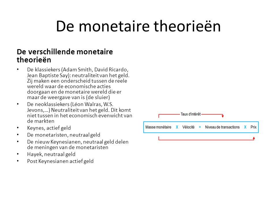 De monetaire theorieën De verschillende monetaire theorieën De klassiekers (Adam Smith, David Ricardo, Jean Baptiste Say): neutraliteit van het geld.