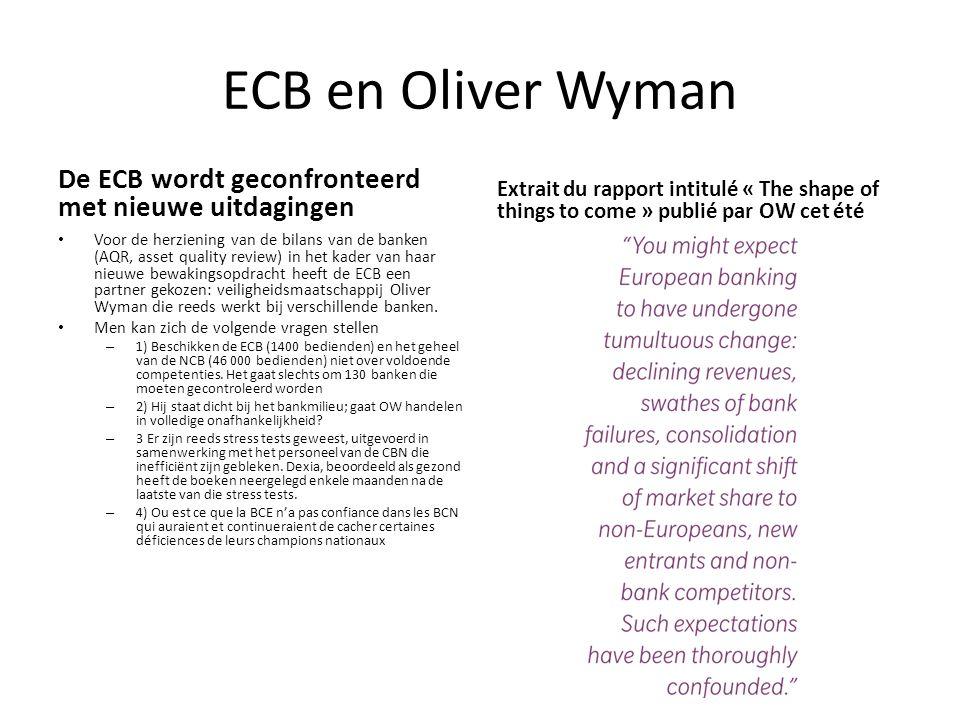 ECB en Oliver Wyman De ECB wordt geconfronteerd met nieuwe uitdagingen Voor de herziening van de bilans van de banken (AQR, asset quality review) in het kader van haar nieuwe bewakingsopdracht heeft de ECB een partner gekozen: veiligheidsmaatschappij Oliver Wyman die reeds werkt bij verschillende banken.