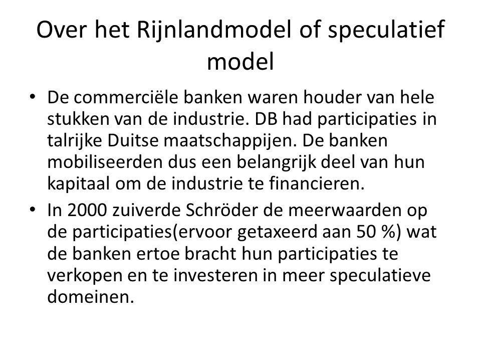 Over het Rijnlandmodel of speculatief model De commerciële banken waren houder van hele stukken van de industrie. DB had participaties in talrijke Dui