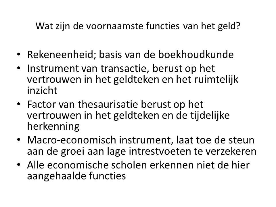 Wat zijn de voornaamste functies van het geld? Rekeneenheid; basis van de boekhoudkunde Instrument van transactie, berust op het vertrouwen in het gel