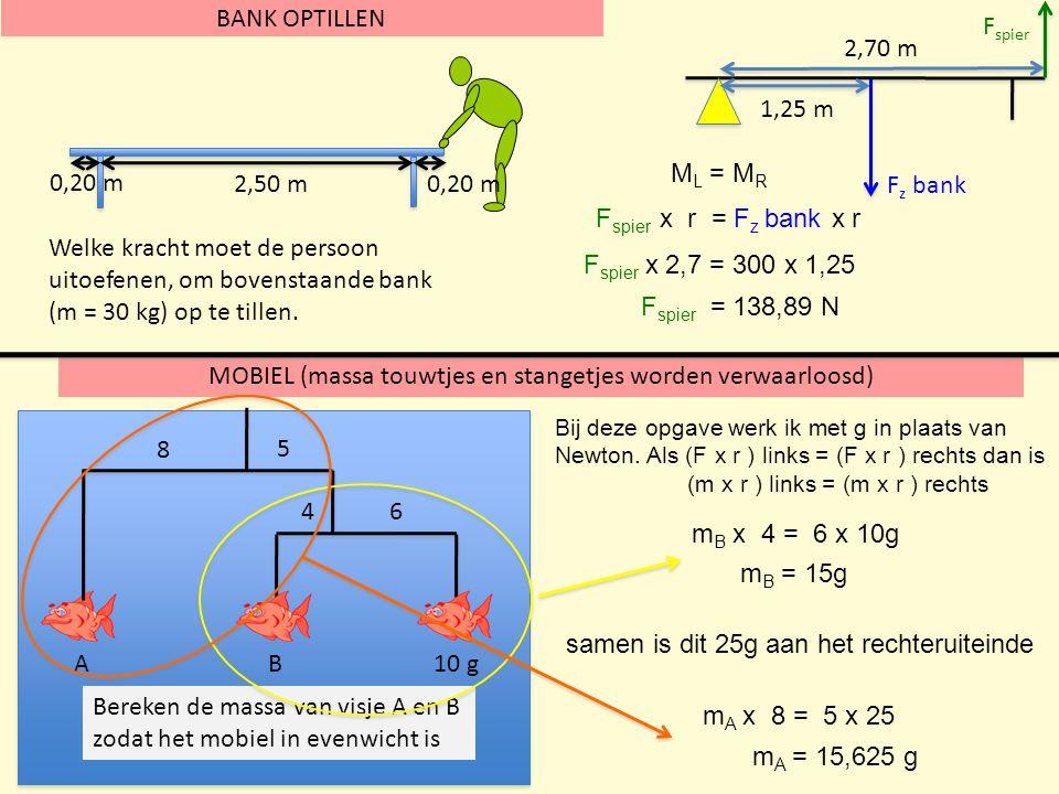 MOBIEL (massa touwtjes en stangetjes worden verwaarloosd) BANK OPTILLEN 2,50 m 0,20 m Welke kracht moet de persoon uitoefenen, om bovenstaande bank (m = 30 kg) op te tillen.