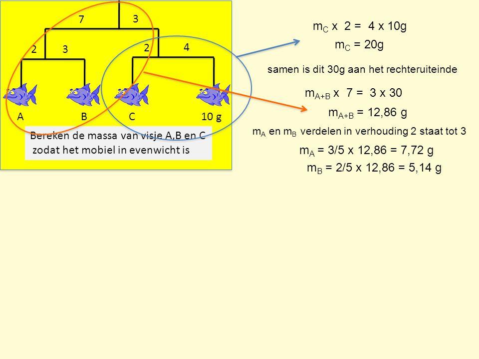 ABC10 g 2 3 7 3 4 2 Bereken de massa van visje A,B en C zodat het mobiel in evenwicht is m C x 2 = 4 x 10g m C = 20g m A+B x 7 = 3 x 30 m A+B = 12,86 g samen is dit 30g aan het rechteruiteinde m A = 3/5 x 12,86 = 7,72 g m B = 2/5 x 12,86 = 5,14 g m A en m B verdelen in verhouding 2 staat tot 3