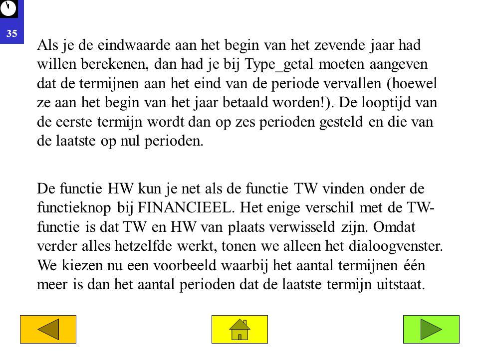 35 De functie HW kun je net als de functie TW vinden onder de functieknop bij FINANCIEEL. Het enige verschil met de TW- functie is dat TW en HW van pl