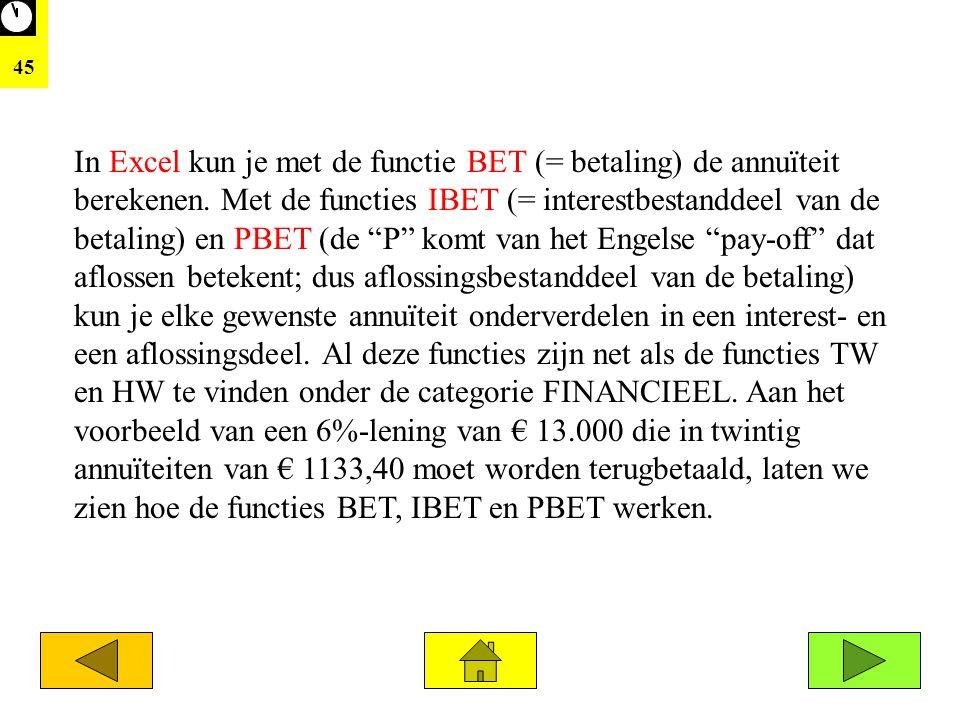 """45 In Excel kun je met de functie BET (= betaling) de annuïteit berekenen. Met de functies IBET (= interestbestanddeel van de betaling) en PBET (de """"P"""