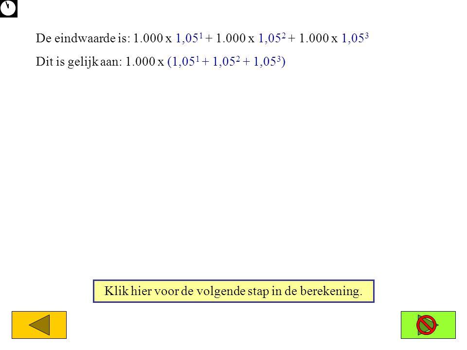 De eindwaarde is: 1.000 x 1,05 1 + 1.000 x 1,05 2 + 1.000 x 1,05 3 Dit is gelijk aan: 1.000 x (1,05 1 + 1,05 2 + 1,05 3 ) Klik hier voor de volgende s