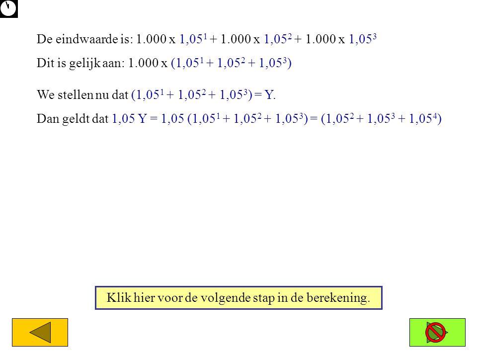 De eindwaarde is: 1.000 x 1,05 1 + 1.000 x 1,05 2 + 1.000 x 1,05 3 Dit is gelijk aan: 1.000 x (1,05 1 + 1,05 2 + 1,05 3 ) We stellen nu dat (1,05 1 +