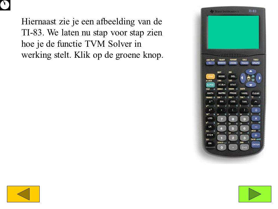 Hiernaast zie je een afbeelding van de TI-83. We laten nu stap voor stap zien hoe je de functie TVM Solver in werking stelt. Klik op de groene knop.