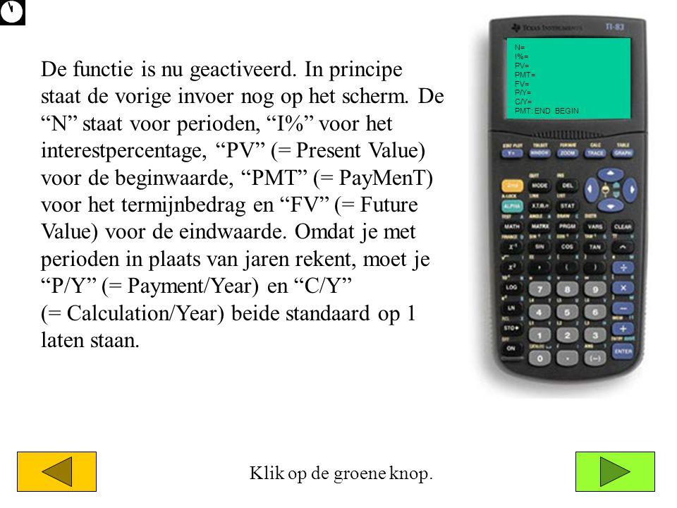 """N= I%= PV= PMT= FV= P/Y= C/Y= PMT: END BEGIN De functie is nu geactiveerd. In principe staat de vorige invoer nog op het scherm. De """"N"""" staat voor per"""