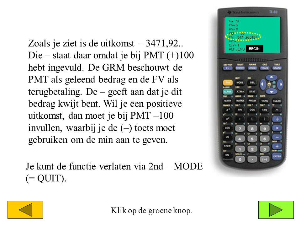 N= 20 I%= 5 PV= 0 PMT= 100 FV= -3471,925181 P/Y= 1 C/Y= 1 PMT: END BEGIN Klik op de groene knop. Zoals je ziet is de uitkomst – 3471,92.. Die – staat