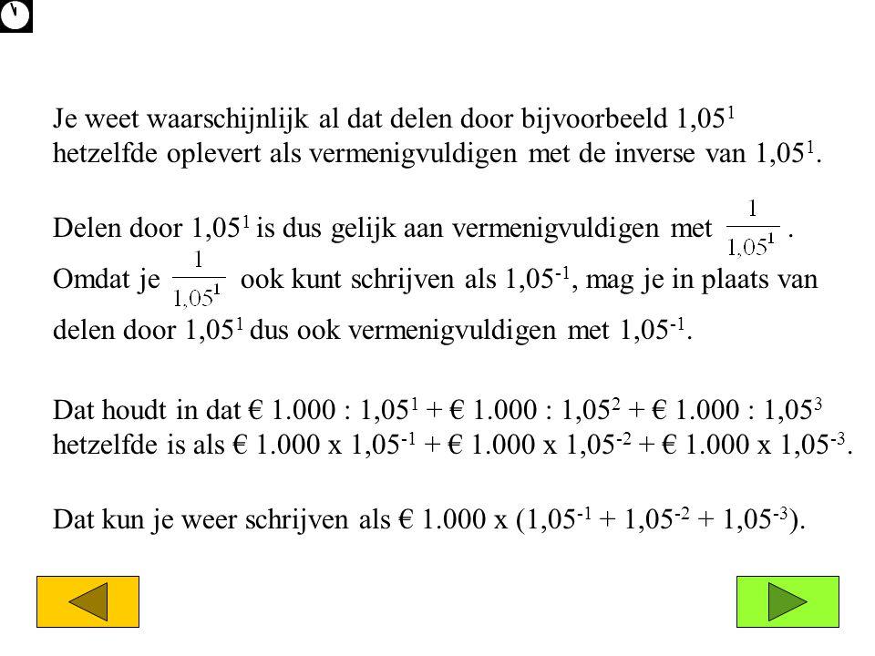 Dat houdt in dat € 1.000 : 1,05 1 + € 1.000 : 1,05 2 + € 1.000 : 1,05 3 hetzelfde is als € 1.000 x 1,05 -1 + € 1.000 x 1,05 -2 + € 1.000 x 1,05 -3. Da