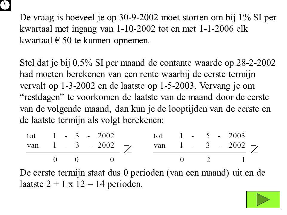 Stel dat je bij 0,5% SI per maand de contante waarde op 28-2-2002 had moeten berekenen van een rente waarbij de eerste termijn vervalt op 1-3-2002 en