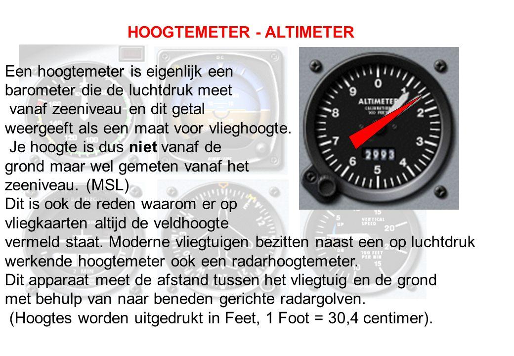 HOOGTEMETER - ALTIMETER Een hoogtemeter is eigenlijk een barometer die de luchtdruk meet vanaf zeeniveau en dit getal weergeeft als een maat voor vlie