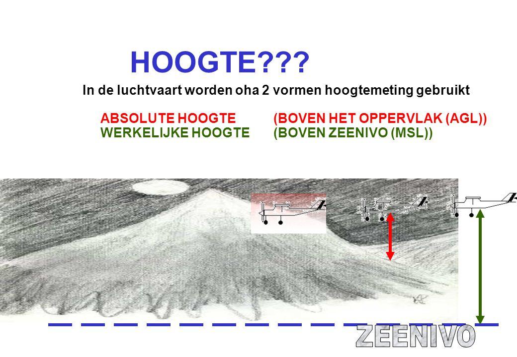 HOOGTE??? In de luchtvaart worden oha 2 vormen hoogtemeting gebruikt ABSOLUTE HOOGTE (BOVEN HET OPPERVLAK (AGL)) WERKELIJKE HOOGTE (BOVEN ZEENIVO (MSL