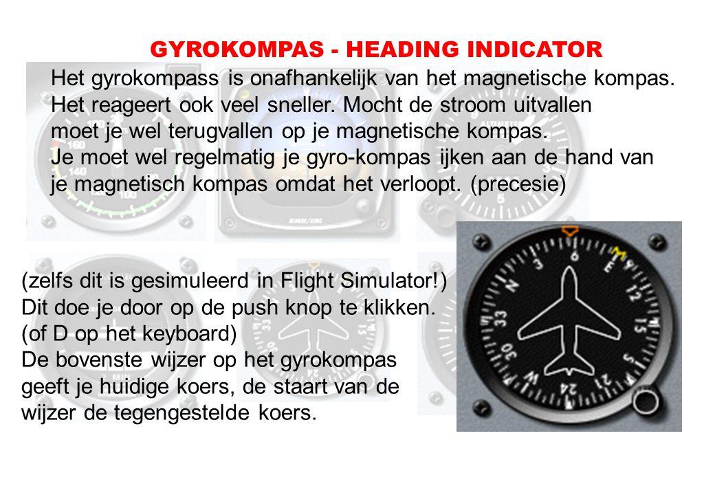 Het gyrokompass is onafhankelijk van het magnetische kompas. Het reageert ook veel sneller. Mocht de stroom uitvallen moet je wel terugvallen op je ma