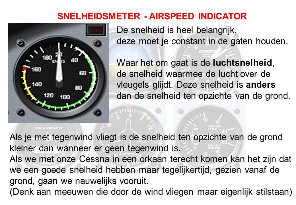 De snelheid is heel belangrijk, deze moet je constant in de gaten houden. Waar het om gaat is de luchtsnelheid, de snelheid waarmee de lucht over de v
