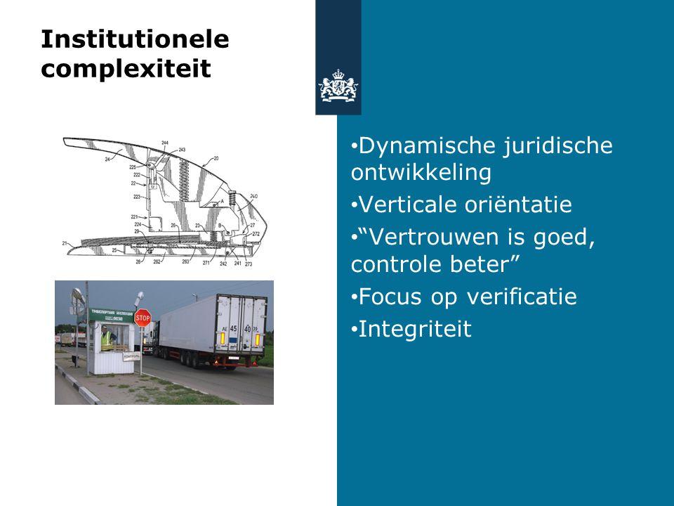 Institutionele complexiteit Dynamische juridische ontwikkeling Verticale oriëntatie Vertrouwen is goed, controle beter Focus op verificatie Integriteit