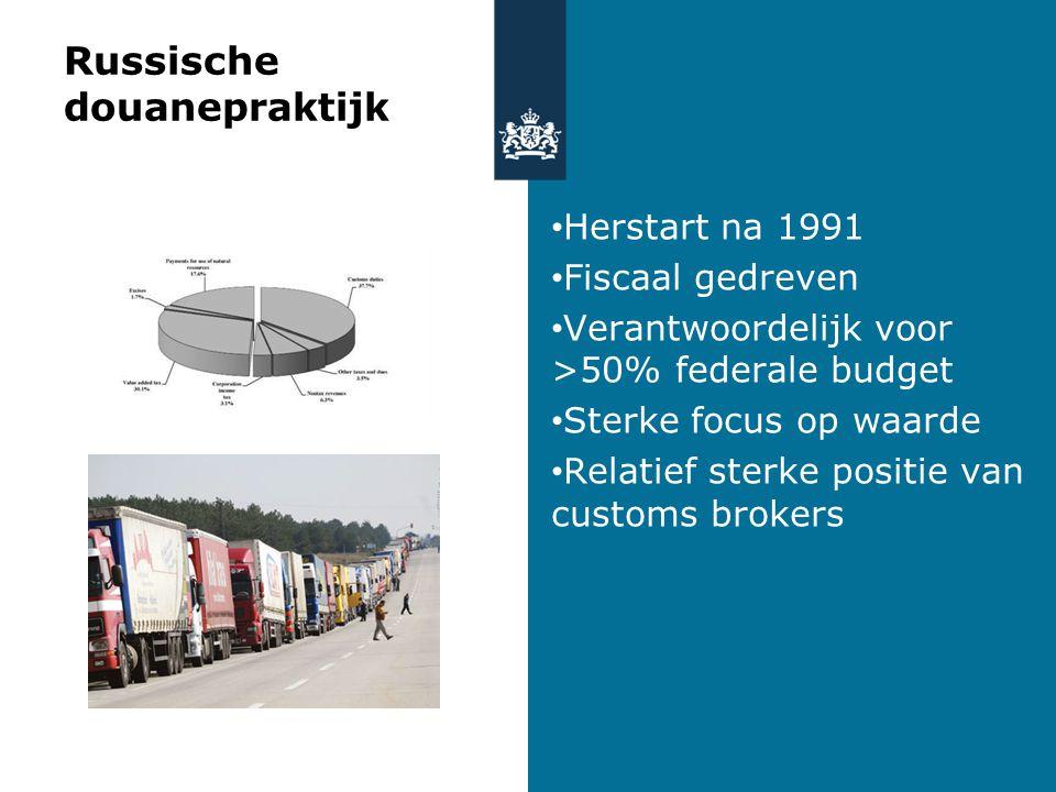 Russische douanepraktijk Herstart na 1991 Fiscaal gedreven Verantwoordelijk voor >50% federale budget Sterke focus op waarde Relatief sterke positie van customs brokers