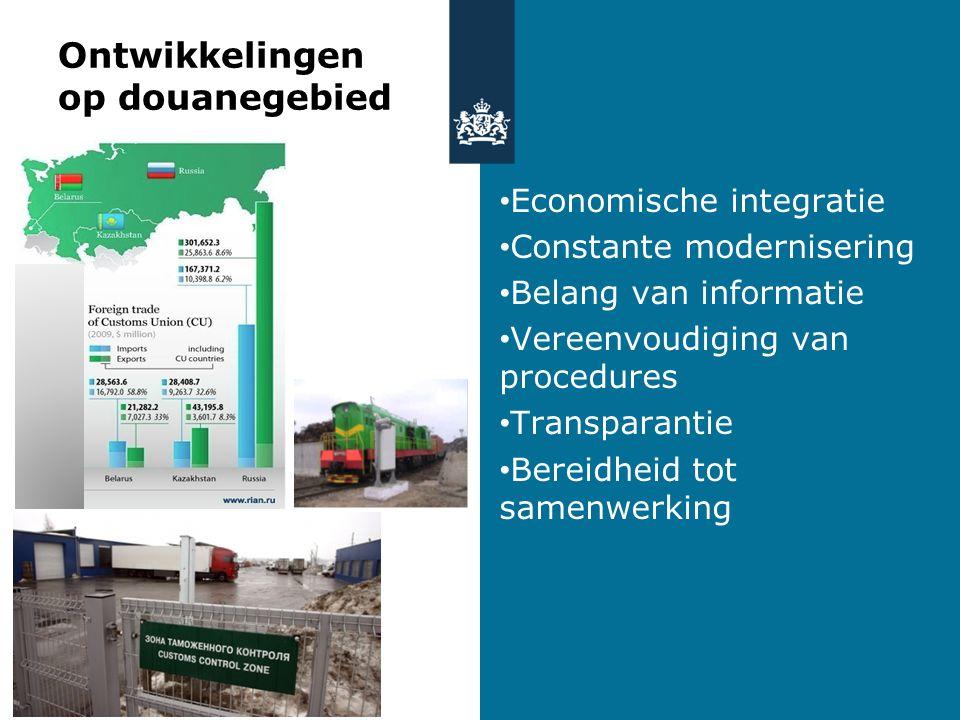 Ontwikkelingen op douanegebied Economische integratie Constante modernisering Belang van informatie Vereenvoudiging van procedures Transparantie Berei