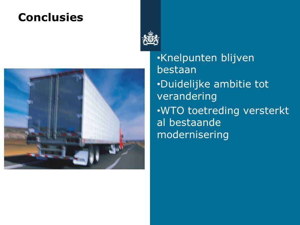 Conclusies Knelpunten blijven bestaan Duidelijke ambitie tot verandering WTO toetreding versterkt al bestaande modernisering