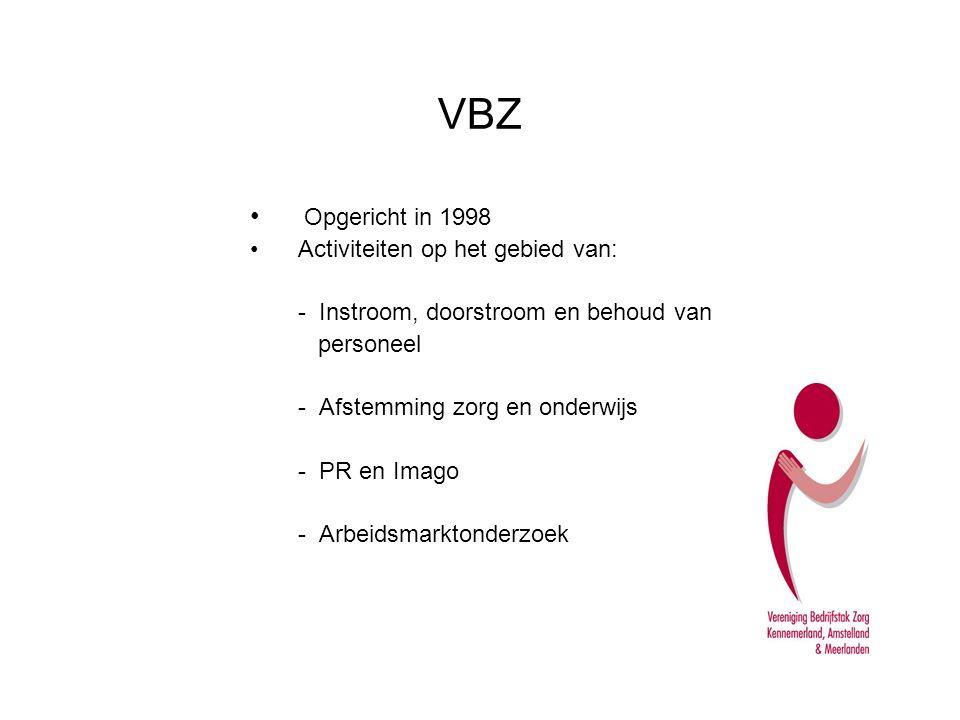 VBZ - Aantal leden: 32 zorgaanbieders - Ruim 30.000 medewerkers -Alle branches zijn vertegenwoordigd - Besluitvorming in de Algemene Leden Vergadering (1 x per jaar) Deelname in de VBZ: -Leden van de VBZ investeren mee in een optimale positie van de zorg op de arbeidsmarkt.