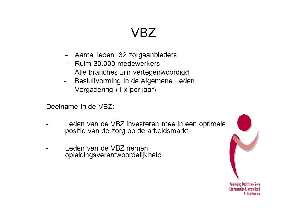 VBZ - Aantal leden: 32 zorgaanbieders - Ruim 30.000 medewerkers -Alle branches zijn vertegenwoordigd - Besluitvorming in de Algemene Leden Vergadering