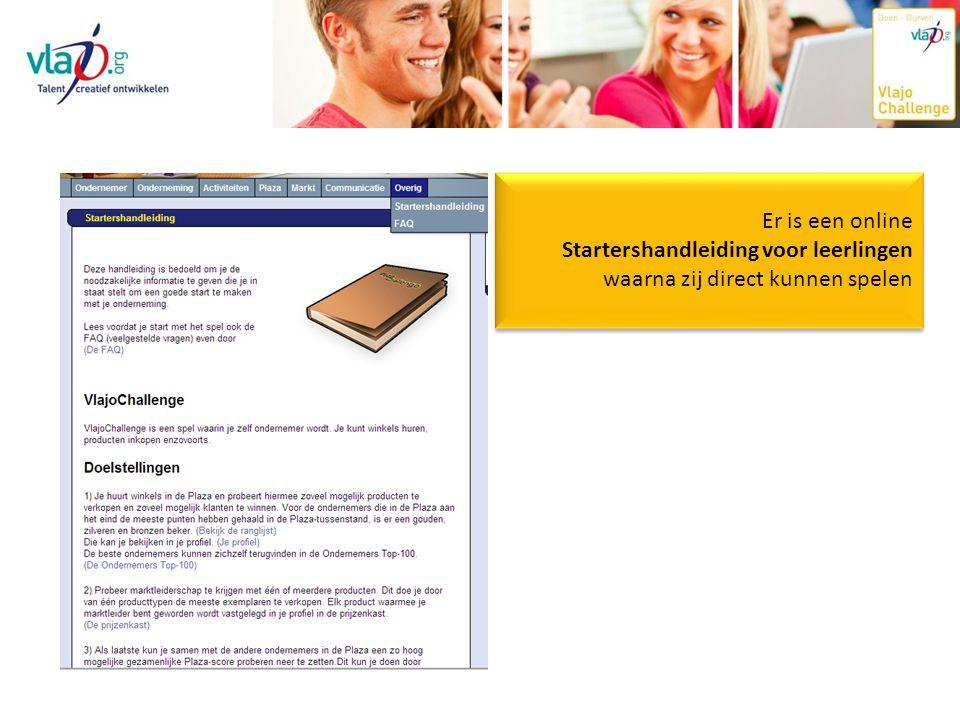 Er is een online Startershandleiding voor leerlingen waarna zij direct kunnen spelen Er is een online Startershandleiding voor leerlingen waarna zij direct kunnen spelen