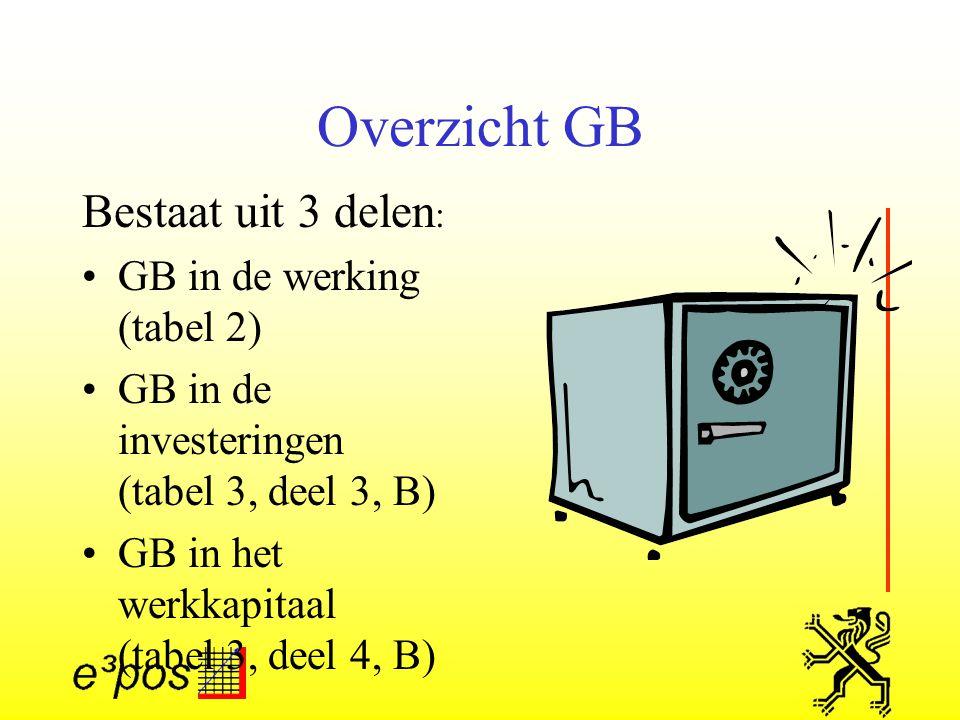 Overzicht GB Bestaat uit 3 delen : GB in de werking (tabel 2) GB in de investeringen (tabel 3, deel 3, B) GB in het werkkapitaal (tabel 3, deel 4, B)