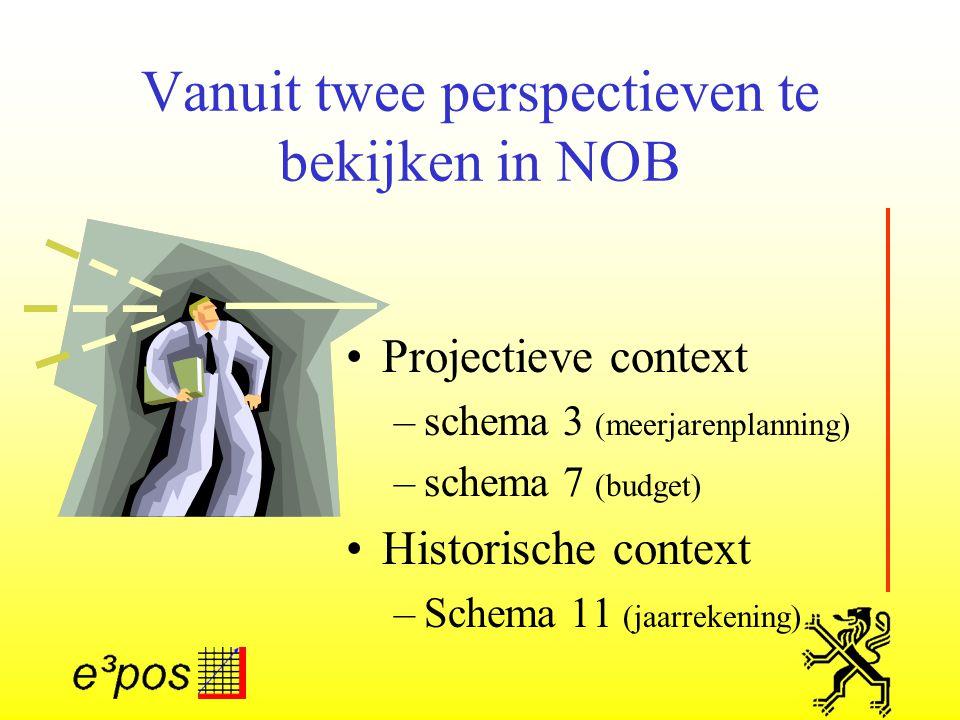 Vanuit twee perspectieven te bekijken in NOB Projectieve context –schema 3 (meerjarenplanning) –schema 7 (budget) Historische context –Schema 11 (jaarrekening)