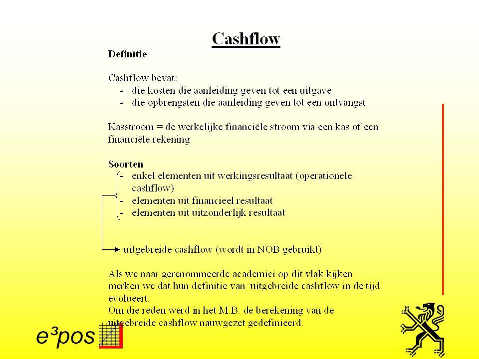 Tabel 1: cashflow Ingedeeld in drie delen: 1.Elementen uit het werkingsresultaat 2.Elementen uit het financieel resultaat 3.Elementen uit het uitzonderlijk resultaat