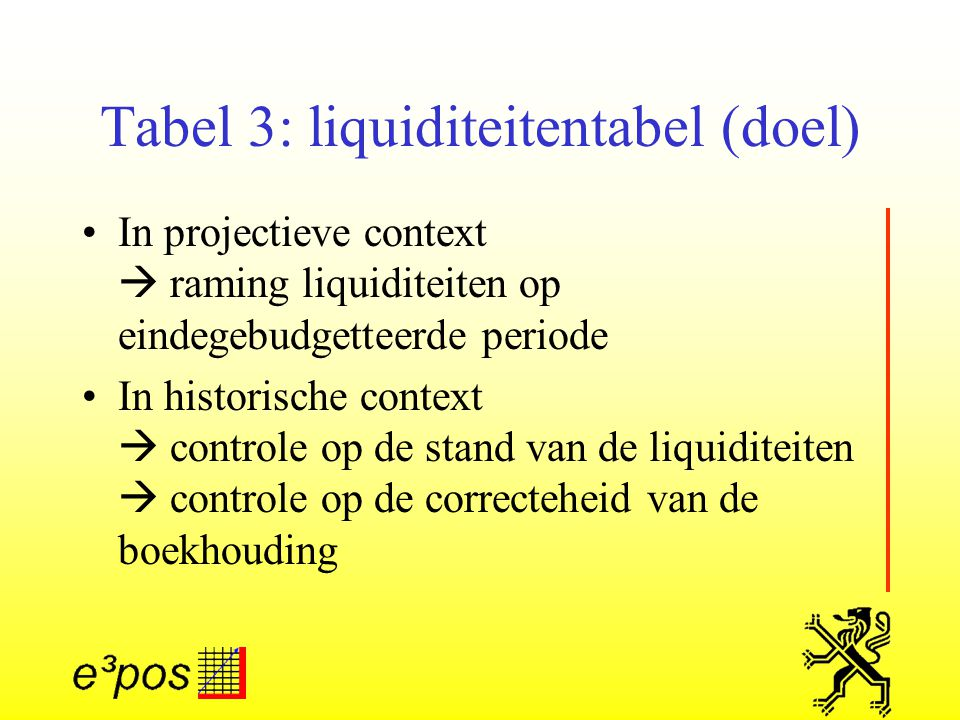 Tabel 3: liquiditeitentabel (doel) In projectieve context  raming liquiditeiten op eindegebudgetteerde periode In historische context  controle op de stand van de liquiditeiten  controle op de correcteheid van de boekhouding