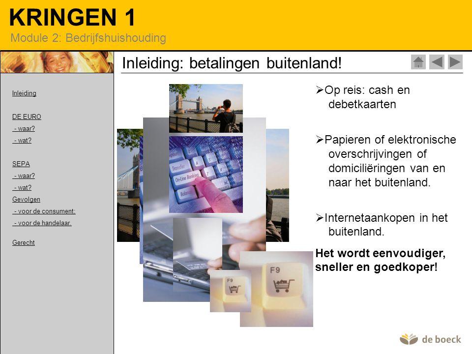 KRINGEN 1 Module 2: Bedrijfshuishouding SEPA Makkelijk betalen met chartaal geld: de euro.