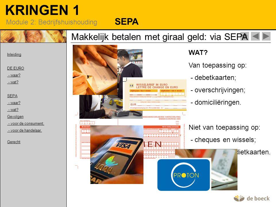 KRINGEN 1 Module 2: Bedrijfshuishouding Makkelijk betalen met giraal geld: via SEPA SEPA WAT.
