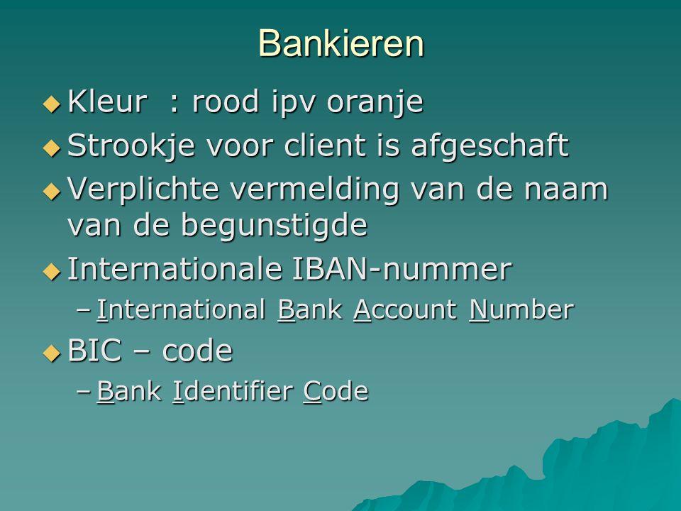 Bankieren  Kleur : rood ipv oranje  Strookje voor client is afgeschaft  Verplichte vermelding van de naam van de begunstigde  Internationale IBAN-