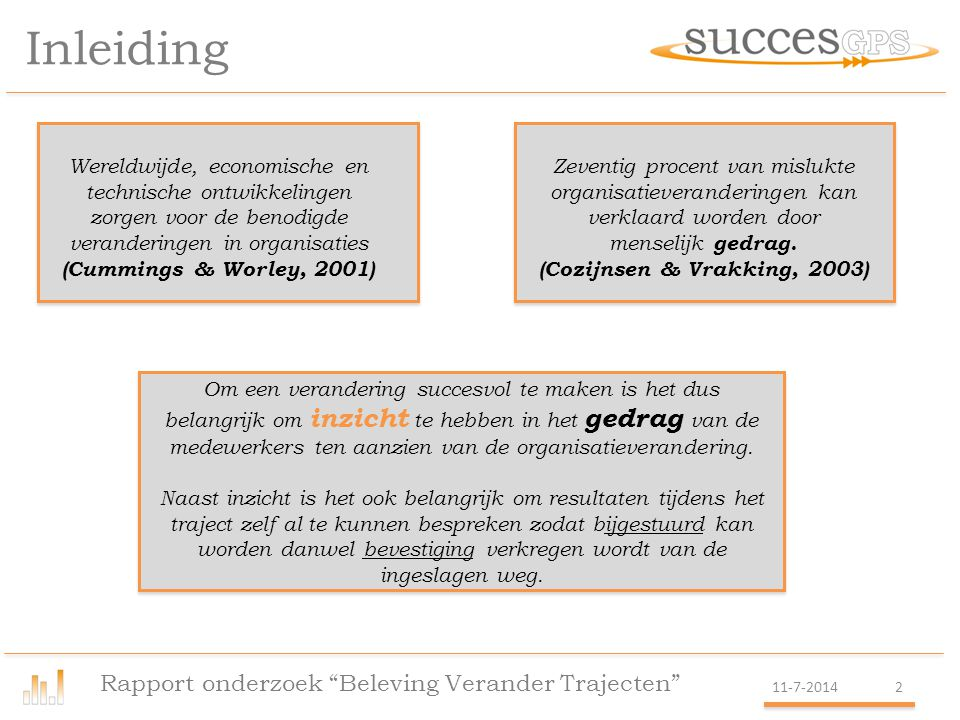 Inzicht en bijsturen Rapport onderzoek Beleving Verander Trajecten 11-7-20143 Om inzicht te verkrijgen hoe medewerkers en management een lopend verandertraject ervaren is de SuccesGPS ontwikkeld.