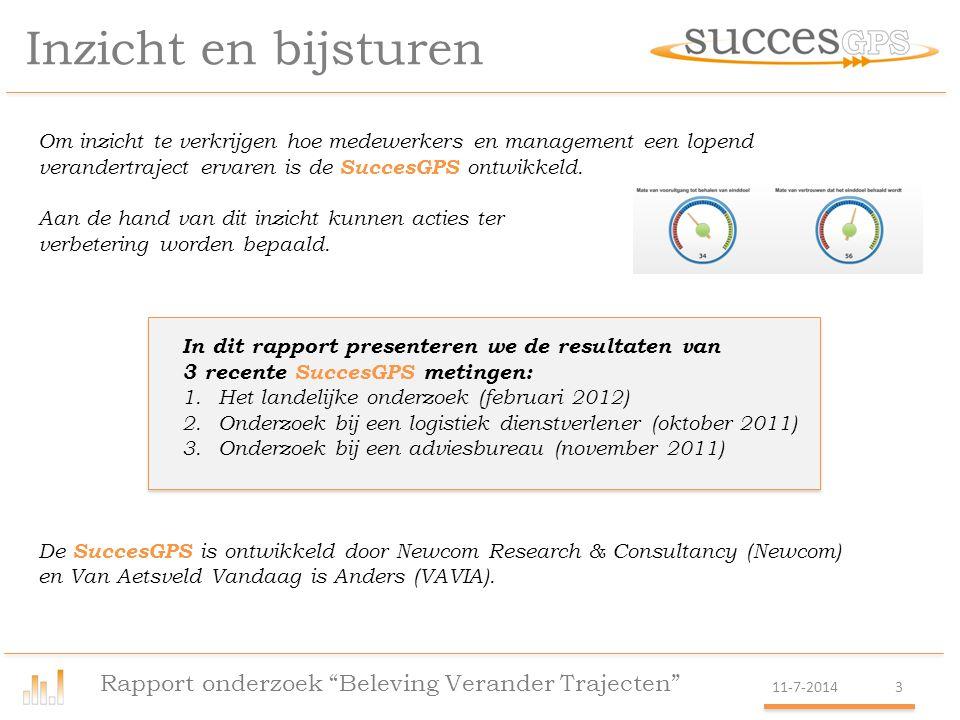 Korte uitleg SuccesGPS Rapport onderzoek Beleving Verander Trajecten 11-7-20144 Verandertrajecten hebben tot doel vernieuwing te realiseren.