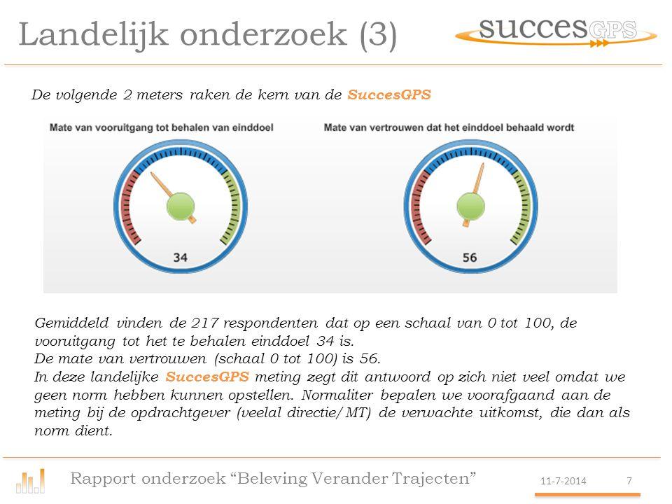 Case Logistiek dienstverlener (5) Rapport onderzoek Beleving Verander Trajecten 11-7-201418 Ongeveer 70% is het eens met de stellingen.