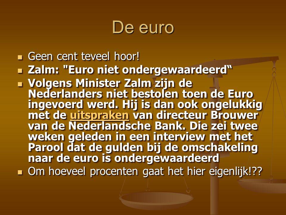 De euro Geen cent teveel hoor. Geen cent teveel hoor.