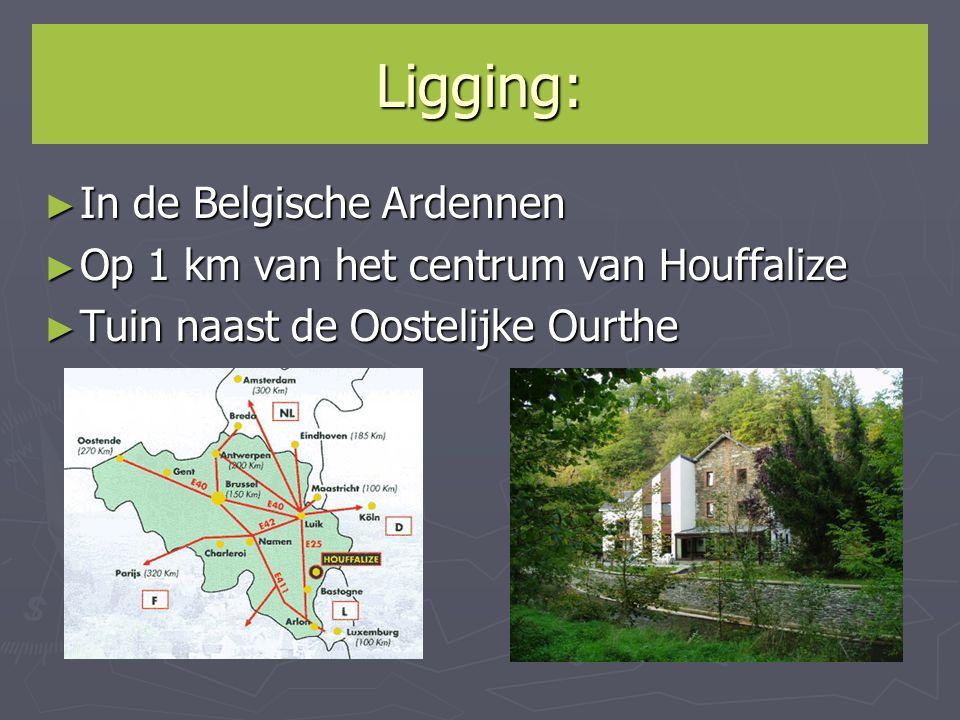 Ligging: ► In de Belgische Ardennen ► Op 1 km van het centrum van Houffalize ► Tuin naast de Oostelijke Ourthe