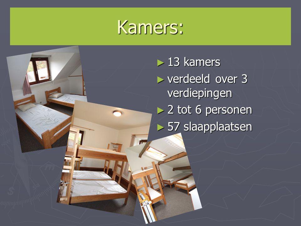 Kamers: ► 13 kamers ► verdeeld over 3 verdiepingen ► 2 tot 6 personen ► 57 slaapplaatsen