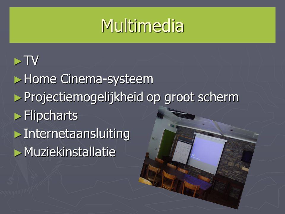 Multimedia ► TV ► Home Cinema-systeem ► Projectiemogelijkheid op groot scherm ► Flipcharts ► Internetaansluiting ► Muziekinstallatie