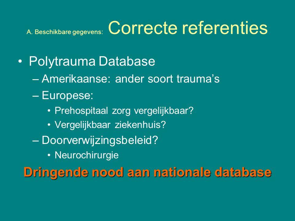 A. Beschikbare gegevens: Correcte referenties Polytrauma Database –Amerikaanse: ander soort trauma's –Europese: Prehospitaal zorg vergelijkbaar? Verge