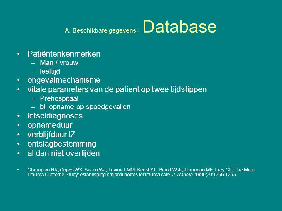 A. Beschikbare gegevens: Database Patiëntenkenmerken –Man / vrouw –leeftijd ongevalmechanisme vitale parameters van de patiënt op twee tijdstippen –Pr