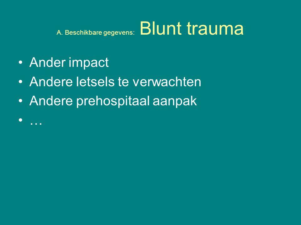 A. Beschikbare gegevens: Blunt trauma Ander impact Andere letsels te verwachten Andere prehospitaal aanpak …