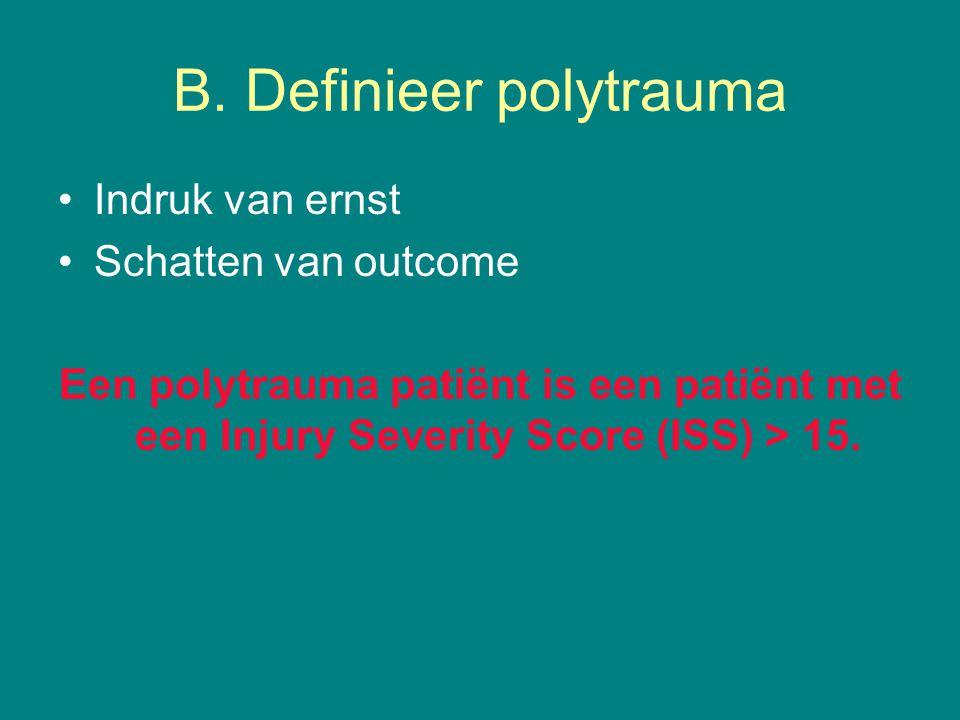 B. Definieer polytrauma Indruk van ernst Schatten van outcome Een polytrauma patiënt is een patiënt met een Injury Severity Score (ISS) > 15.