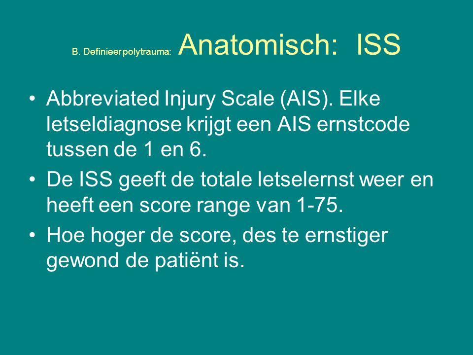 Abbreviated Injury Scale (AIS).Elke letseldiagnose krijgt een AIS ernstcode tussen de 1 en 6.