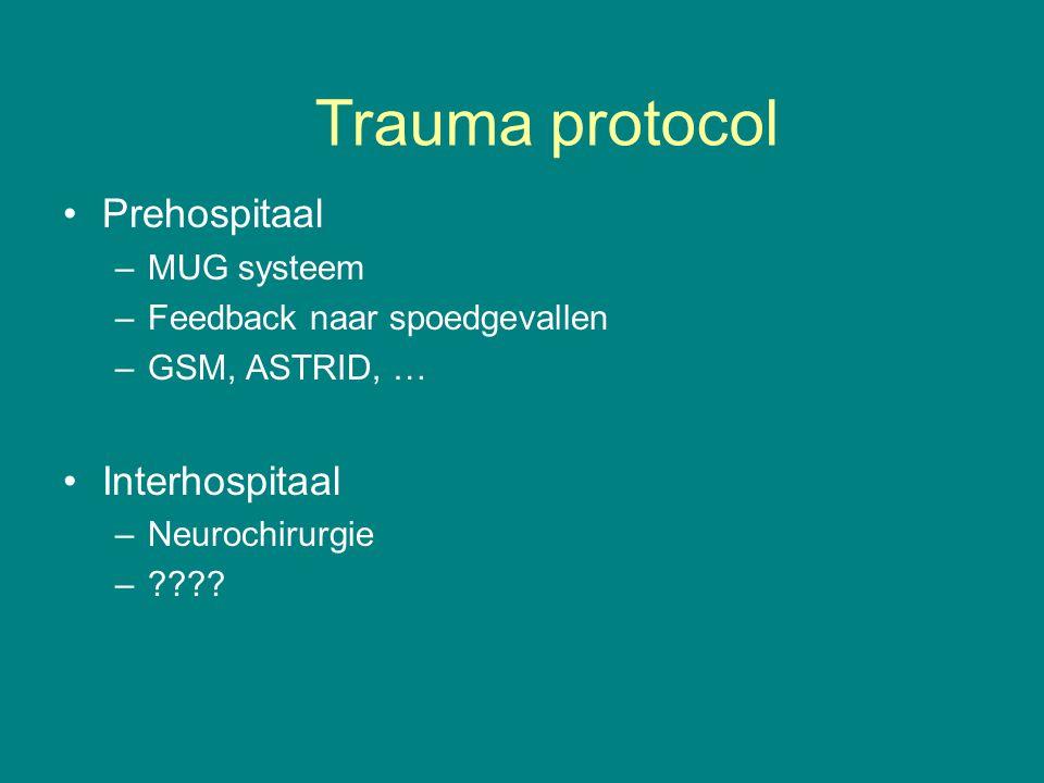 Prehospitaal –MUG systeem –Feedback naar spoedgevallen –GSM, ASTRID, … Interhospitaal –Neurochirurgie –???.