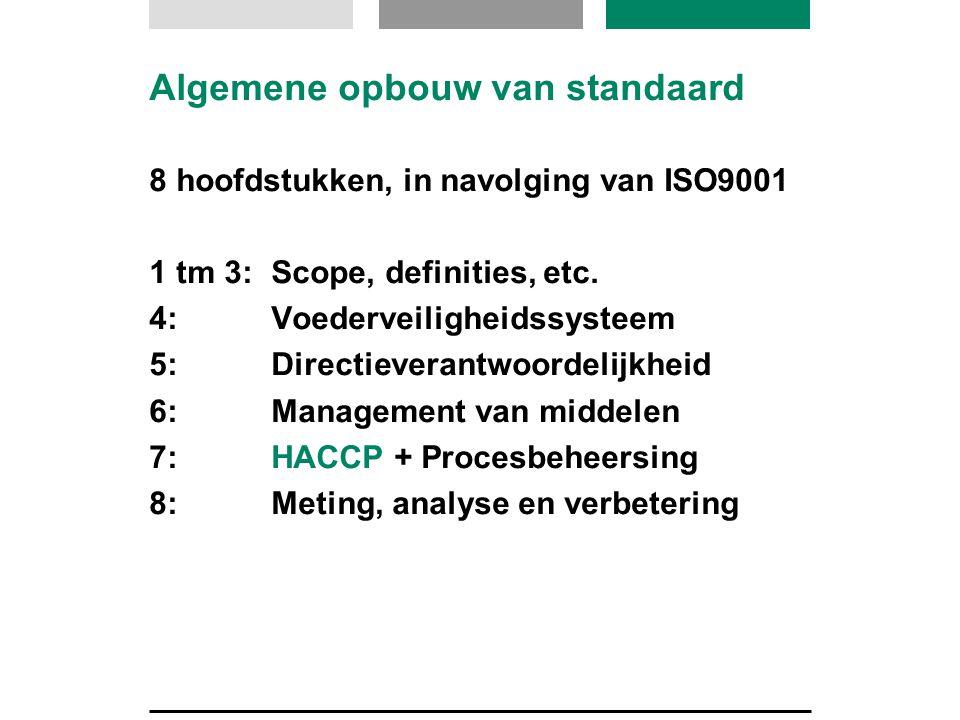 Algemene opbouw van standaard 8 hoofdstukken, in navolging van ISO9001 1 tm 3: Scope, definities, etc. 4: Voederveiligheidssysteem 5: Directieverantwo