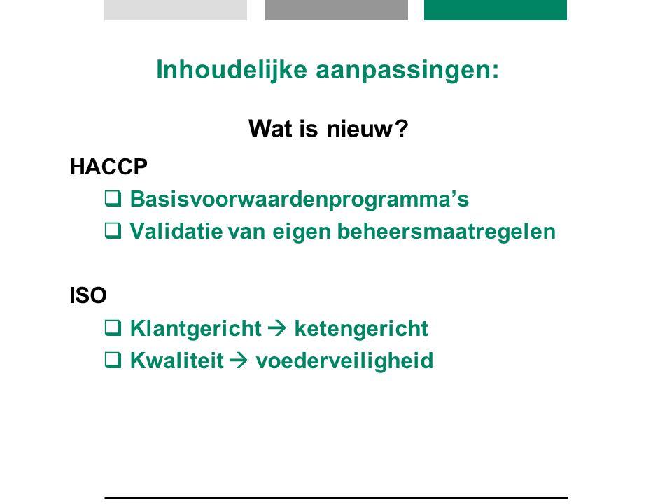HACCP  Basisvoorwaardenprogramma's  Validatie van eigen beheersmaatregelen ISO  Klantgericht  ketengericht  Kwaliteit  voederveiligheid Inhoudel