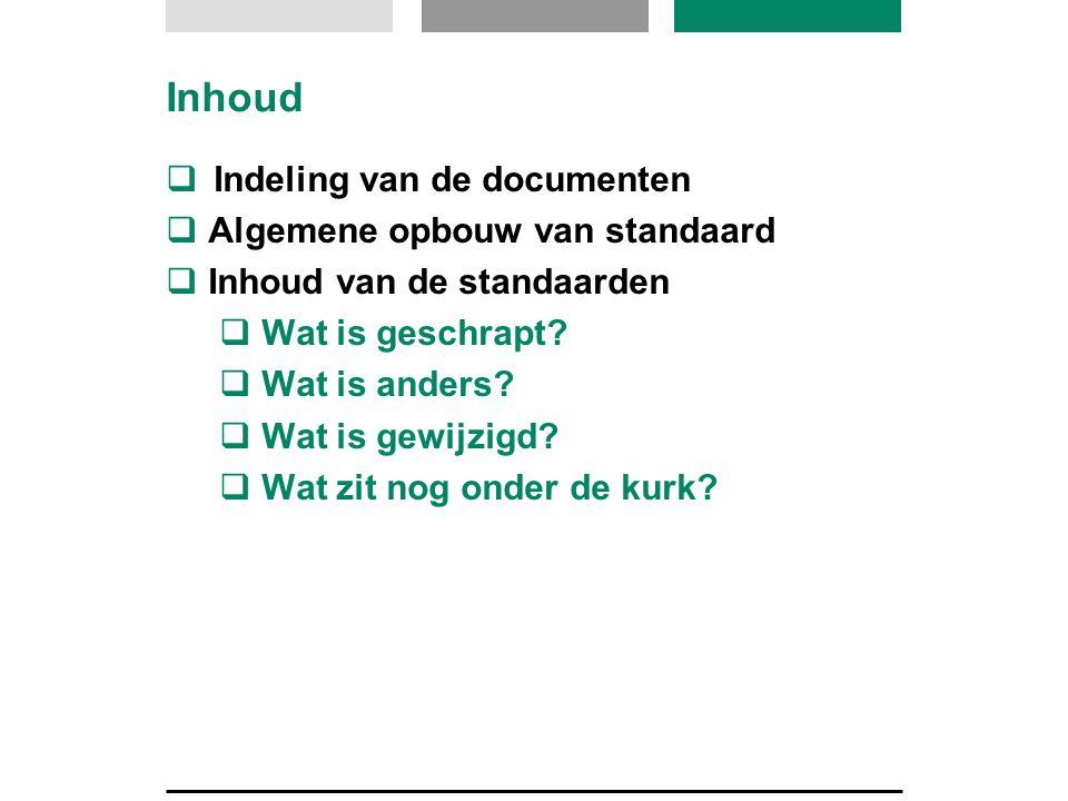 Inhoud  Indeling van de documenten  Algemene opbouw van standaard  Inhoud van de standaarden  Wat is geschrapt?  Wat is anders?  Wat is gewijzig