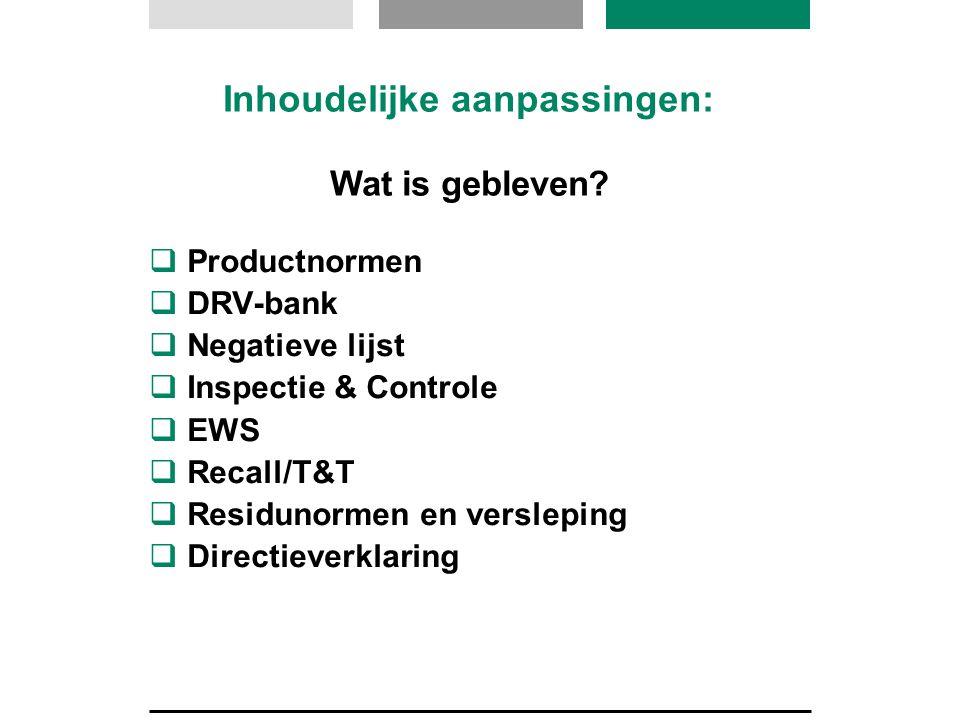  Productnormen  DRV-bank  Negatieve lijst  Inspectie & Controle  EWS  Recall/T&T  Residunormen en versleping  Directieverklaring Inhoudelijke